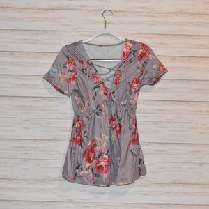 Floral Lace Up V Neck Shirt